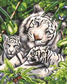 White Tiger and Cubs Tapestry Canvas By Grafitec