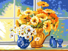 Yellow and White Daisies Tapestry Canvas By Grafitec