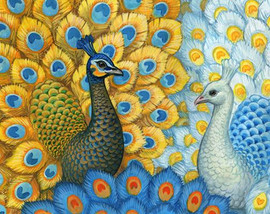 Exotic Peacocks Tapestry Canvas By Grafitec