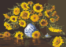 Sunflowers in a Blue Vase Tapestry Canvas By Grafitec