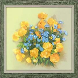 Globe Flowers Satin Stitch Emboidery Kit By Riolis