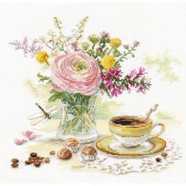 Morning Coffee Cross Stitch Kit by Alisa