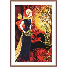 Women With Leopard Cross Stitch Kit by Oven