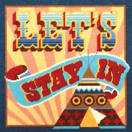 Let's Stay In Tapestry Cushion Kit Front By DMC