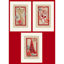 Counted Cross Stitch Greeting Cards: Christmas Symbols By Vervaco