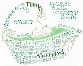 Lets Love Twins Cross Stitch Chart