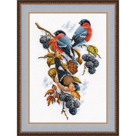 Bullfinches and berries Cross Stitch Kit by Oven