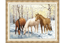 Horses near the river Cross Stitch Kit by Golden Fleece