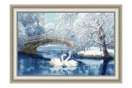 White Swans Cross Stitch Kit by Golden Fleece