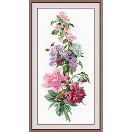 Flower Composition Peonies Cross Stitch Kit by Oven