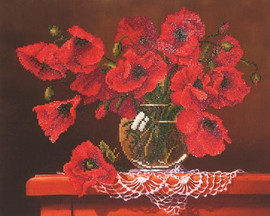 Red Poppies Craft Kit By Diamond Dotz