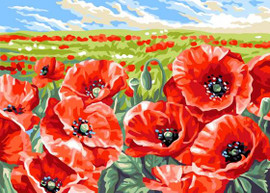 Red poppy Field Tapestry Canvas By Grafitec