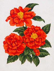 Red Zinnias Canvas By Grafitec