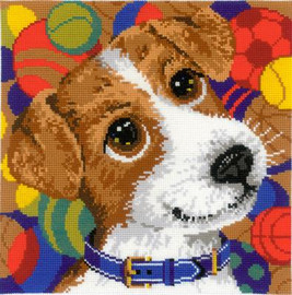 Puppy cushion Cross Stitch Kit By Riolis