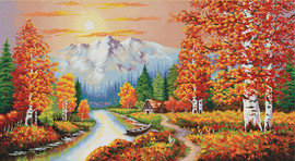 A flaming Sunset No Count Cross Stitch Kit By Riolis