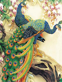peacock Majesty No Count Cross Stitch Kit By Riolis