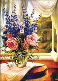 Floral Vase by the window No Count Cross Stitch Kit By Riolis