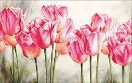 Pink tulips No Count Cross Stitch Kit By Riolis