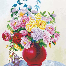 Cabbage roses in a vase No Count Cross Stitch Kit By Riolis