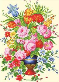 Elegant Floral Arrangment No Count Cross Stitch Kit By Riolis