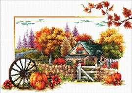 Autumn Farm No Count Cross Stitch Kit By Riolis