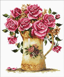 Antique Flower Vase No Count Cross Stitch Kit By Riolis