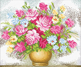 Vase of flowers No Count Cross Stitch Kit By Riolis