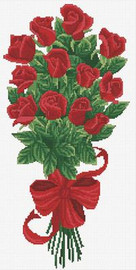 Bouquet of Red Rosebuds No Count Cross Stitch Kit By Riolis