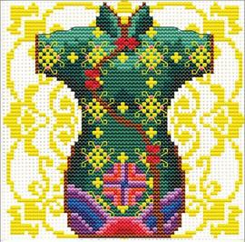 Geisha Green No Count Cross Stitch Kit By Riolis