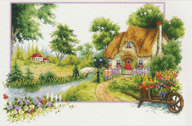 Summer Cottage No Count Cross Stitch Kit By Riolis