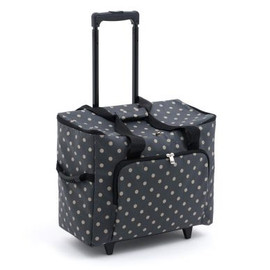 Matt PVC - Charcoal Polka Dot  Sewing Machine Trolley Bag By Hobby Gift
