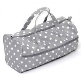 Grey Linen Polka Dot  Knitting Bag By Hobby Gift