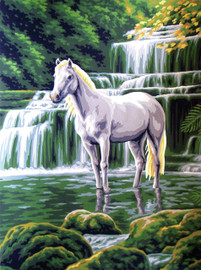 White Horse at Waterfall  Tapestry Canvas By Collection D'art