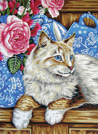 Cat on the Shelf  Tapestry Canvas By Collection D'art