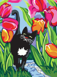 Cat with Tulips Tapestry Canvas By Collection D'art
