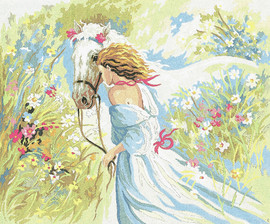 Girl and her Horse  Tapestry Canvas By Collection D'art