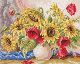 Poppies and Sunflowers  Tapestry Canvas By Collection D'art