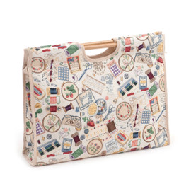 Sewing Notions  Craft Bag with Wooden Handles By Hobby Gift