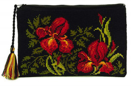 Irises Cosmetics Bag Cross Stitch Kit By Riolis
