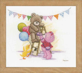 Counted Cross Stitch Kit: Popcorn Bear Birthday By Vervaco