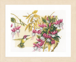 Colibri and Flowers Cross Stitch Kit by Lanarte