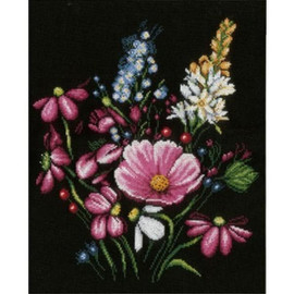 Flowers on Black Cross Stitch Kit by Lanarte