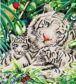 White Tiger & Cubs Craft Kit By Diamond Dotz