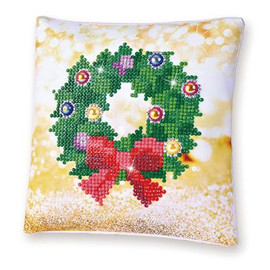 Christmas Wreath Pillow Craft Kit By Diamond Dotz