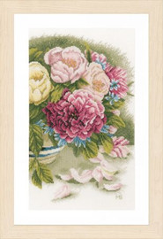 Peony roses Cross Stitch Kit by Lanarte
