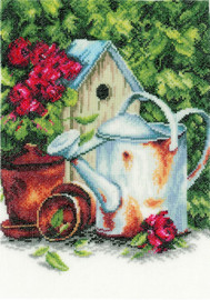 Watering Can and Birdhouse Cross Stitch Kit by Lanarte