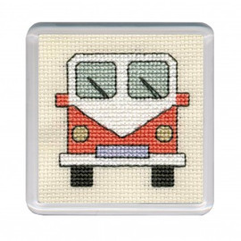 Orange Camper Van Coaster Cross Stitch Kit by Textile Heritage