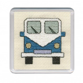 Blue Camper Van Coaster Cross Stitch Kit by Textile Heritage