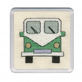 Green Camper Van Coaster Cross Stitch Kit by Textile Heritage