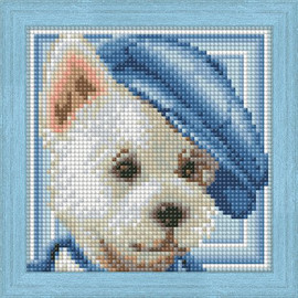 DIAMOND PAINTING DOG WITH HAT KIT